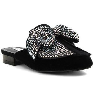 Shoes - Black Jeweled bow flats